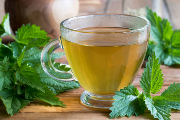 A cup of nettle tea on a wooden table A cup of nettle tea on a wooden table, with fresh stinging nettles in the background stinging nettle stock pictures, royalty-free photos & images