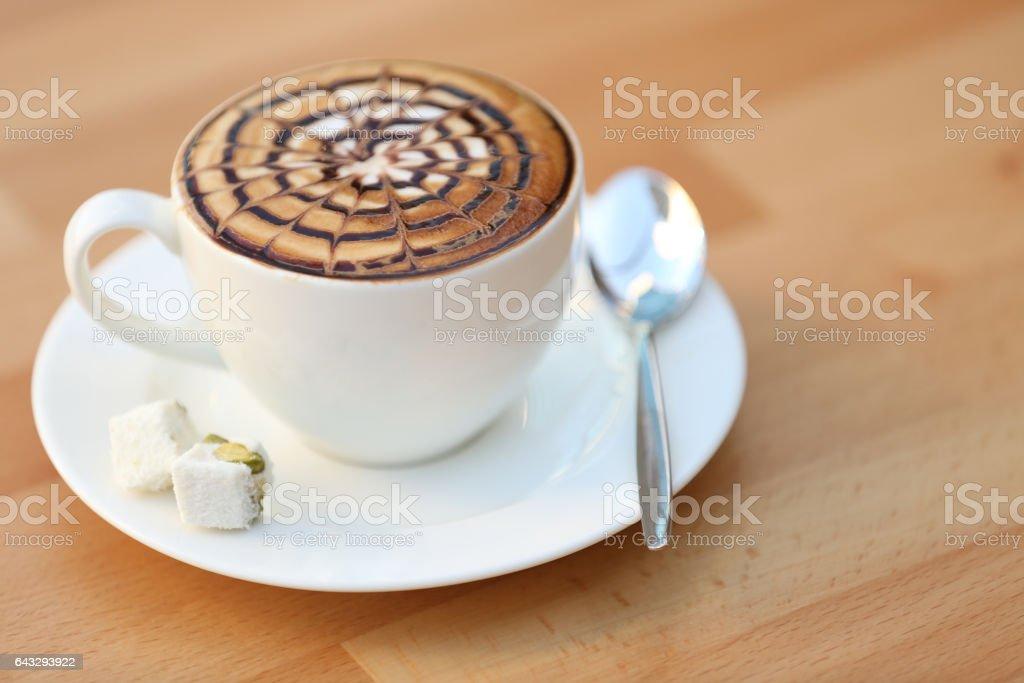 Cup of pattern latte art - foto de stock