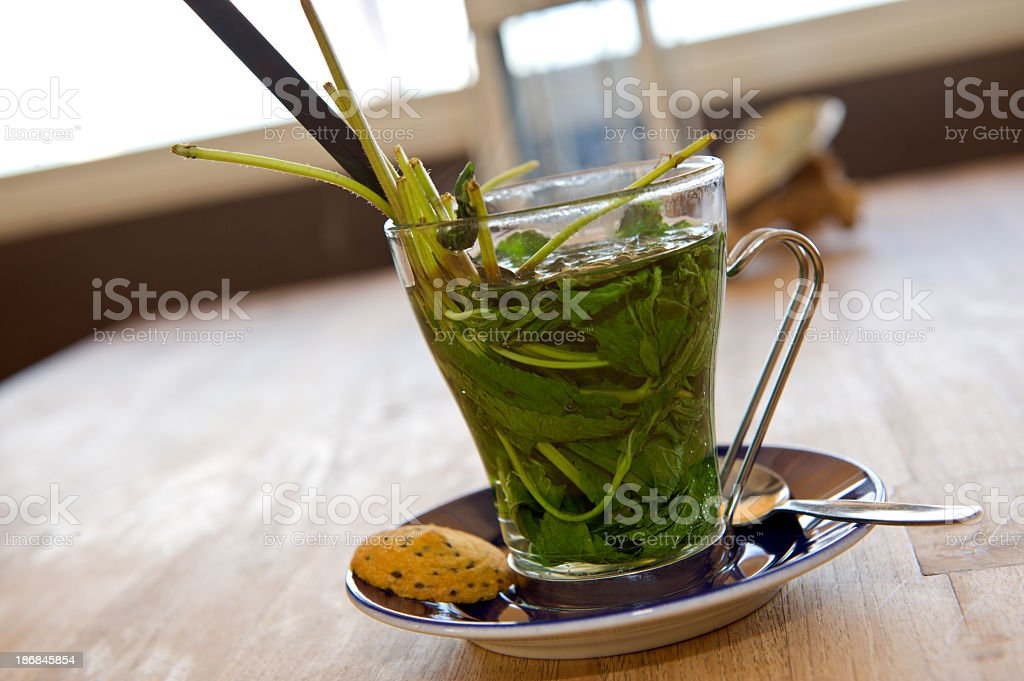 Cup of Peppermint Tea with Spoon and cookie royalty-free stock photo