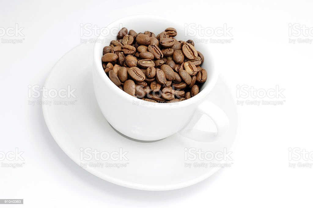 cup of roasted coffee beans royalty-free stock photo