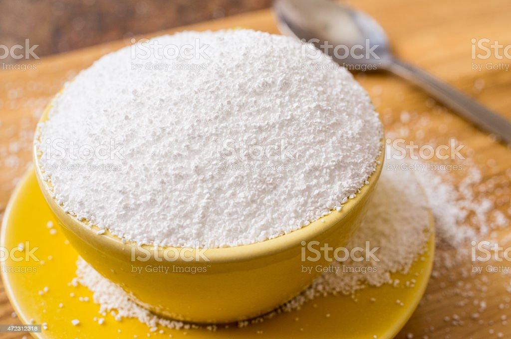 Cup of sorbitol sweetener stock photo