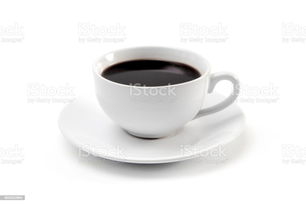 Cup of Strong Black Coffee in a White Cup and Saucer - fotografia de stock