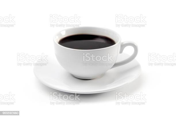 Cup of Strong Black Coffee in a White Cup and Saucer