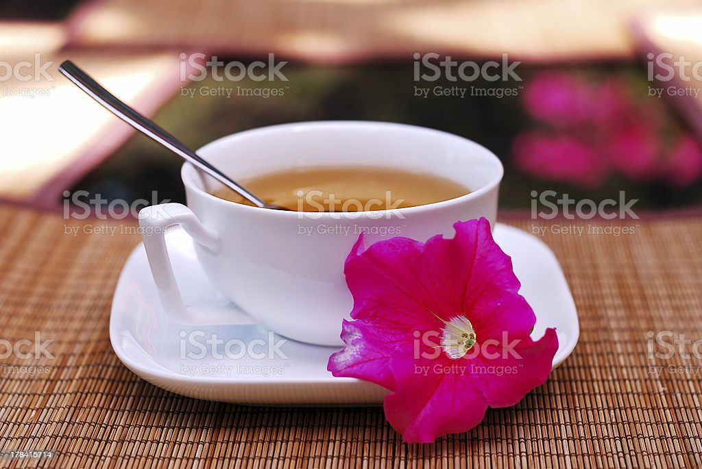 Cup of tea and a flower royalty-free stock photo