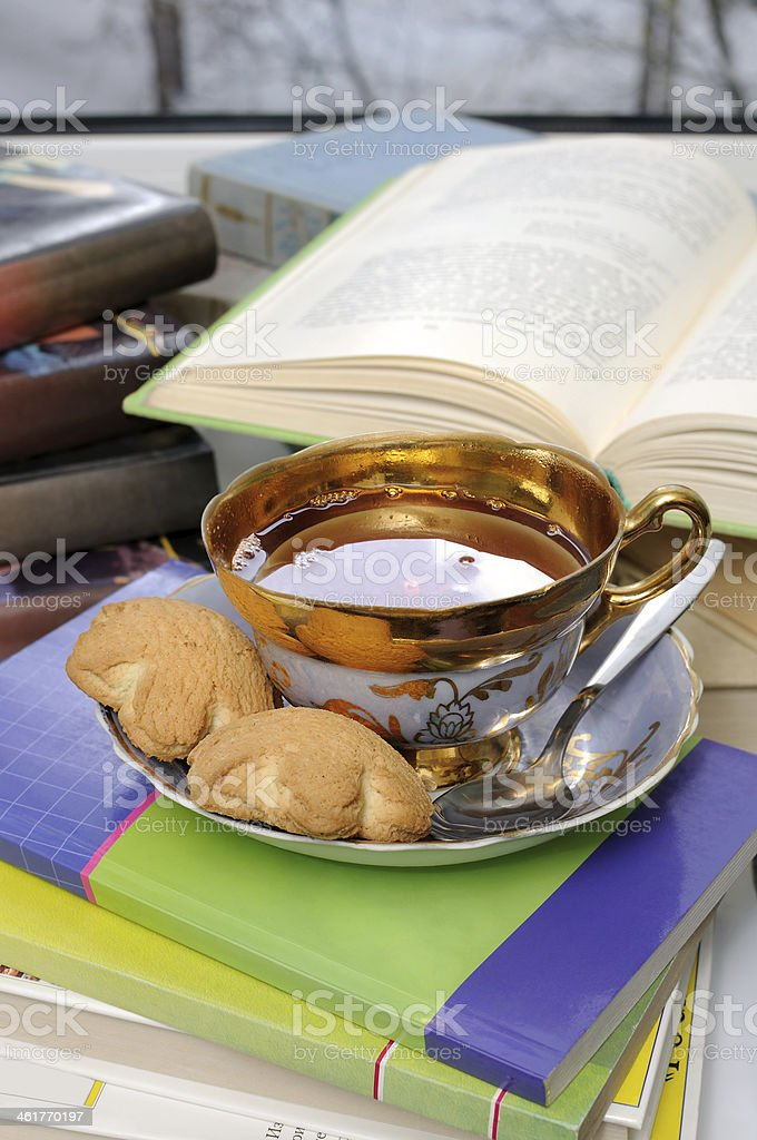 cup of tea and biscuits stock photo