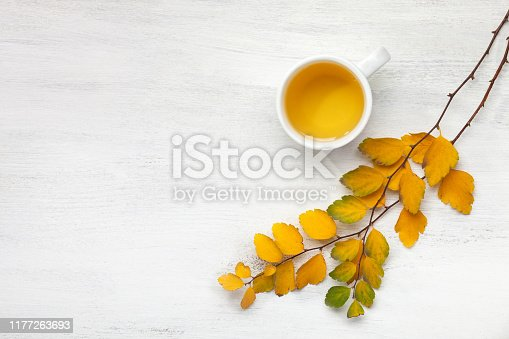 Cup  of tea and branches with small colorful autumn leaves (Spiraea Vanhouttei) on white wooden table with empty space for text or image. Flat lay.