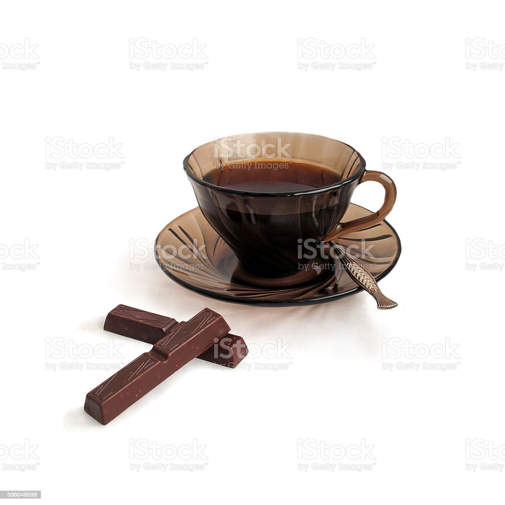 Cup of tea and chocolate bits. royalty-free stock photo