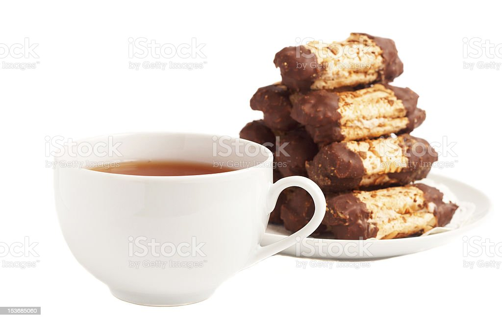 Cup of tea and chocolate cookies royalty-free stock photo
