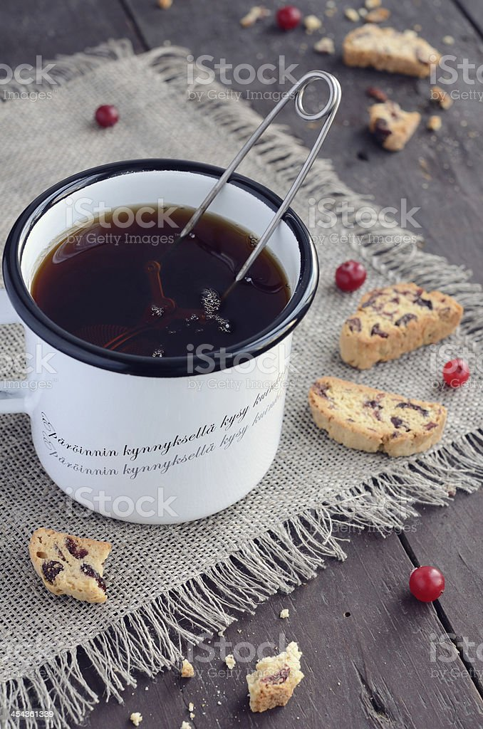 Cup of tea and cranberry biscotti royalty-free stock photo
