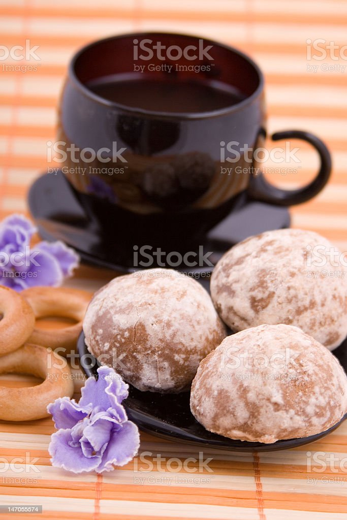 Cup of tea and dessert royalty-free stock photo