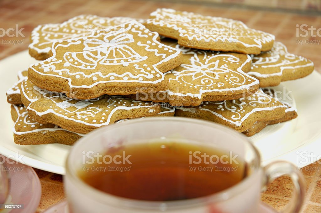 Cup of tea and gingerbread cookies royalty-free stock photo