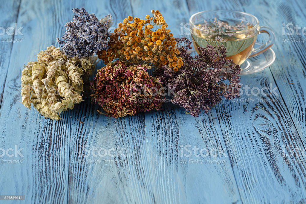 Cup of tea and lavender flowers royalty-free stock photo