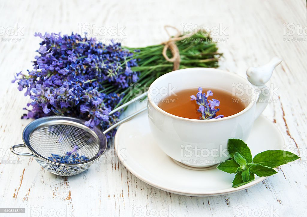 Cup of tea and lavender flowers stock photo