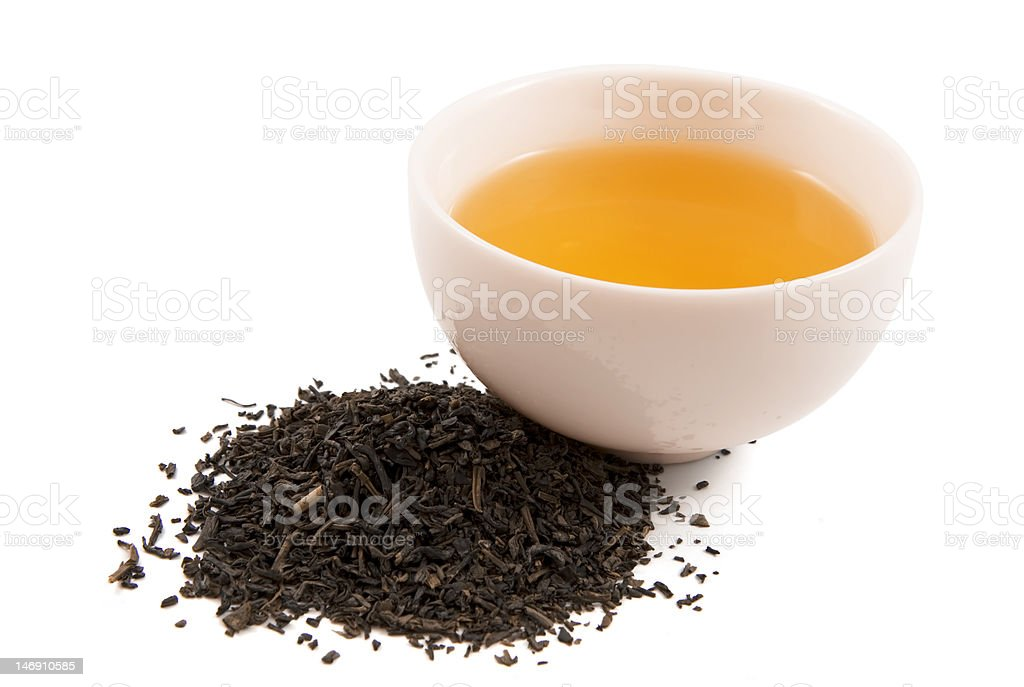 Cup of Tea and Leaves royalty-free stock photo