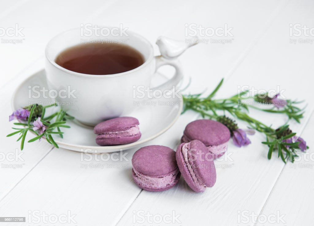 Cup of tea and macarons - Royalty-free Affectionate Stock Photo