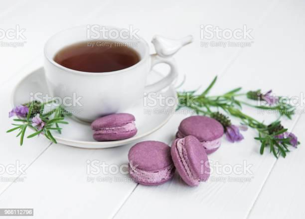 Kopp Te Och Macarons-foton och fler bilder på Bakverk