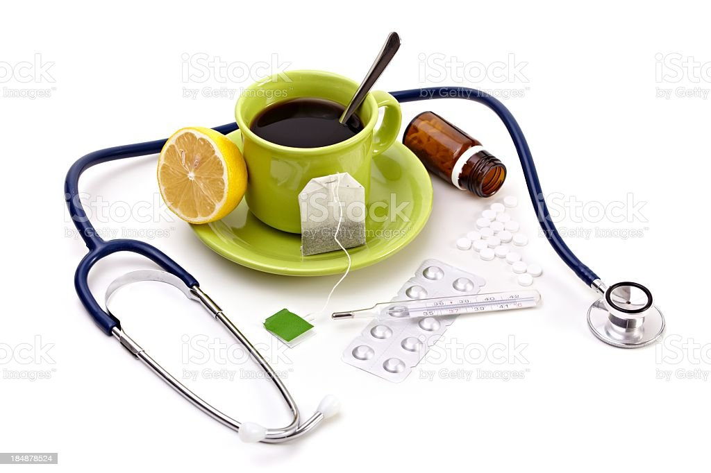 cup of tea and medicine royalty-free stock photo