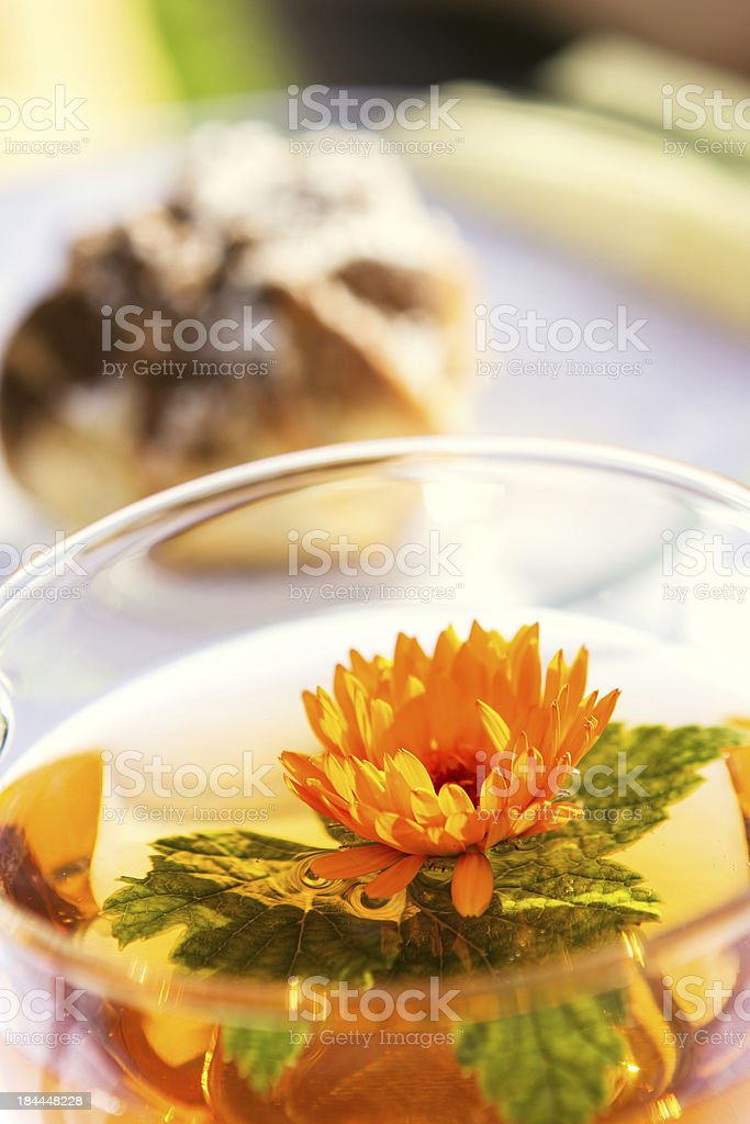 Cup of tea and pie in sunlight royalty-free stock photo