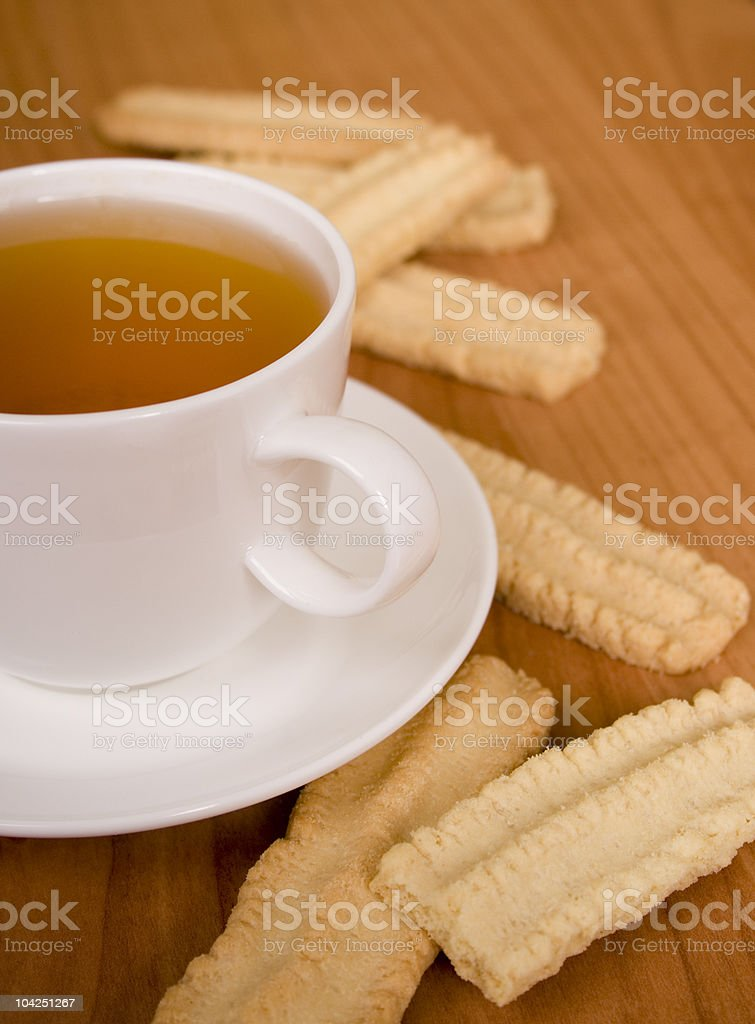 cup of tea and some cookies royalty-free stock photo
