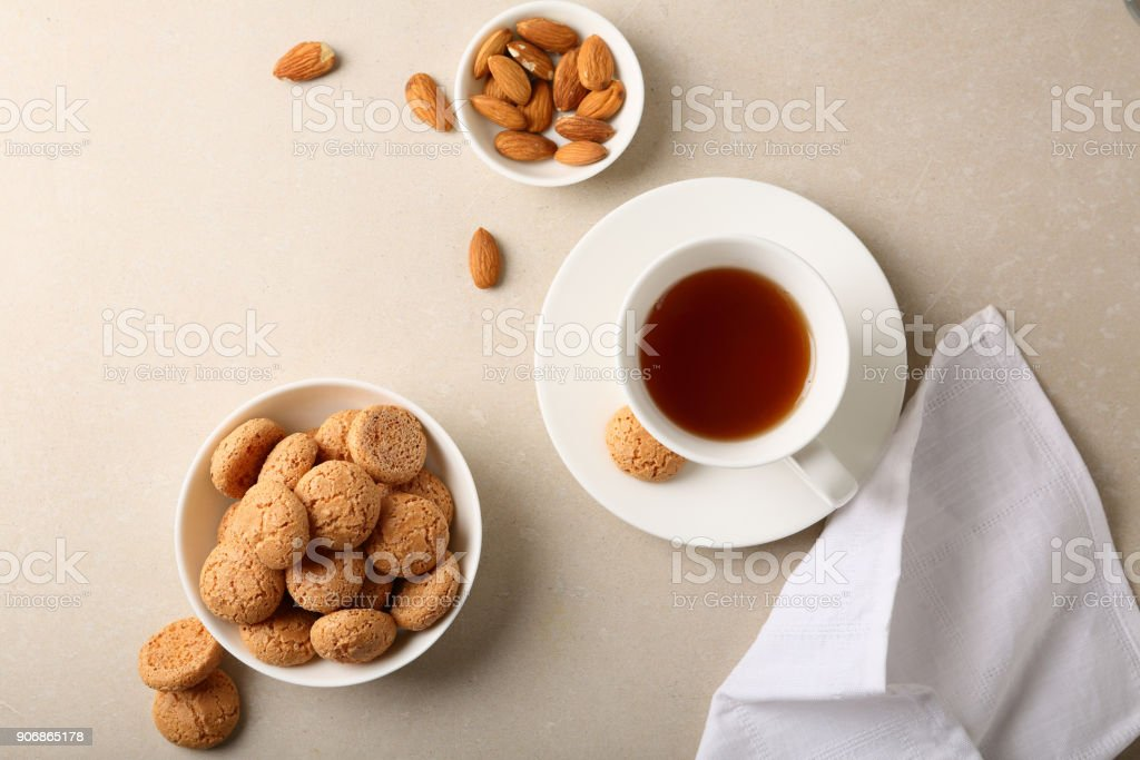 cup of tea and sweet cookies, food and drink stock photo