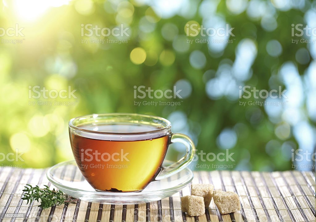 Cup of tea and teapot. royalty-free stock photo