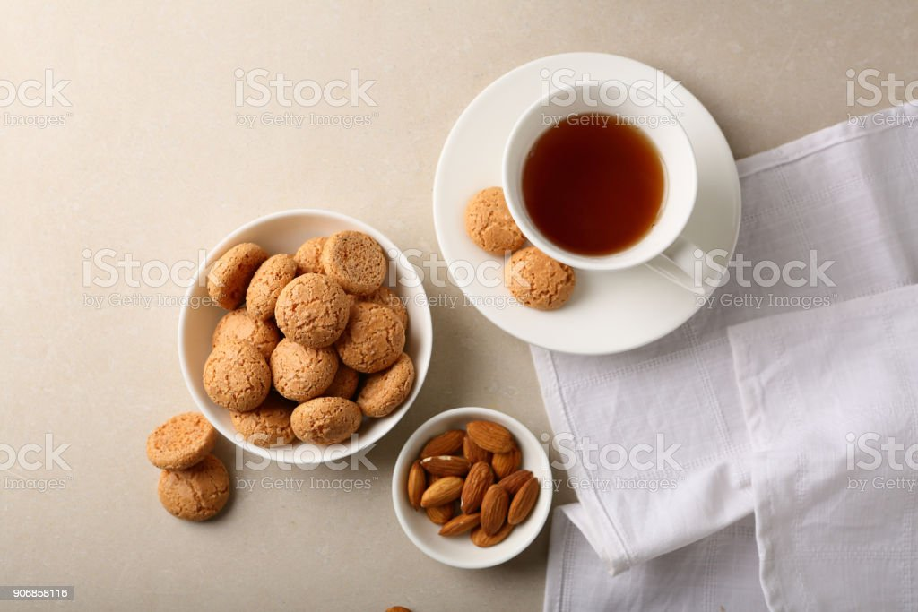 A cup of tea flat lay, food above stock photo