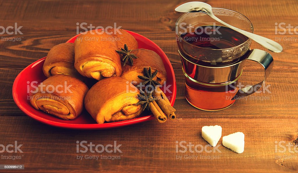 Cup of tea glass with a metal stock photo
