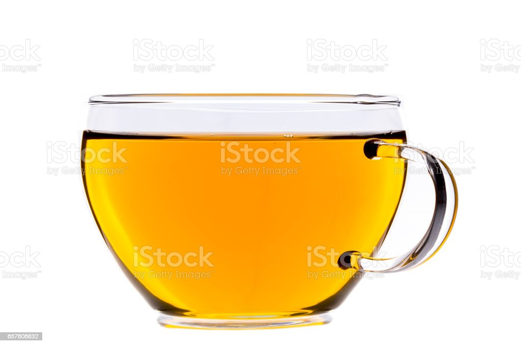 Cup of tea, green chinese gunpowder tea stock photo