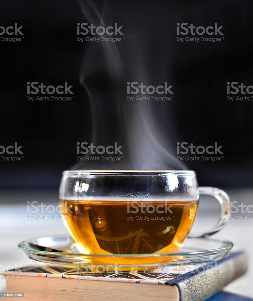 Cup of tea, hot drink scene stock photo