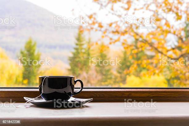 Photo of Cup of tea in front of window with autumn view.
