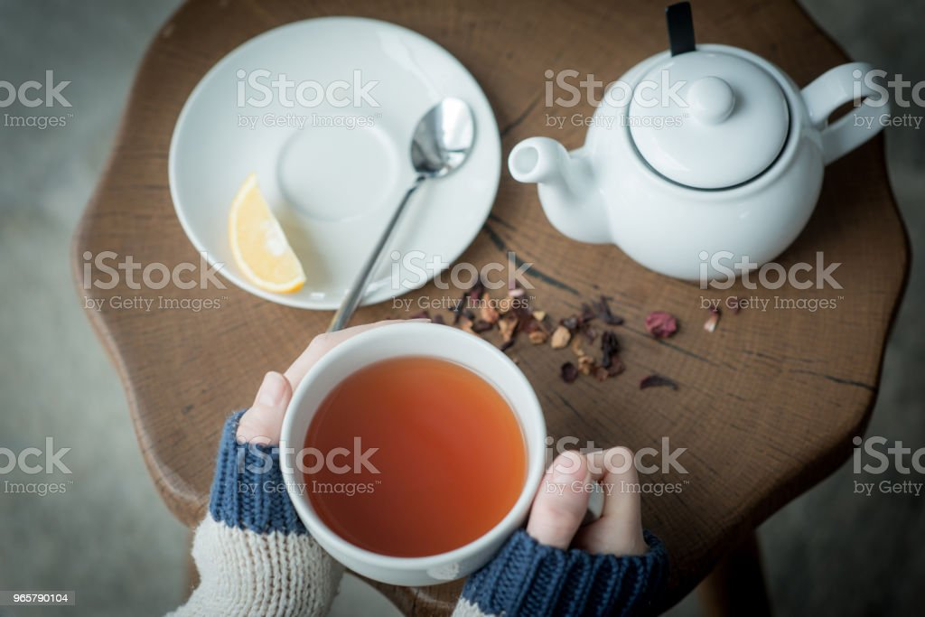 Cup of tea in womans hands close up - Royalty-free Adult Stock Photo