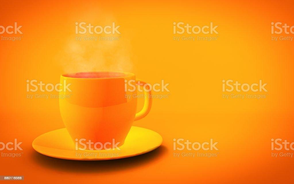 cup of tea on orange background - 3d render stock photo