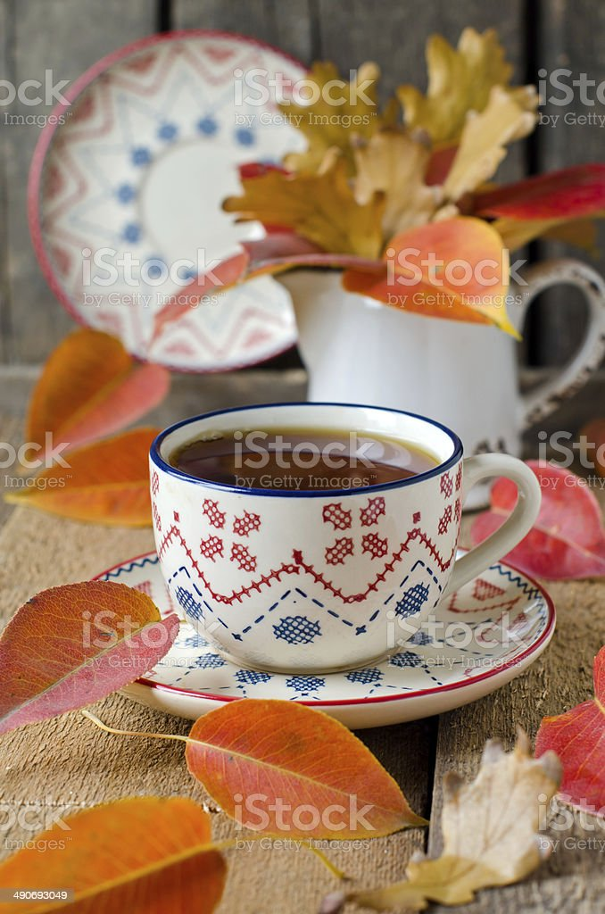 2baac3a92c1 Cup Of Tea On The Table With Autumn Leaves Stock Photo - Download ...
