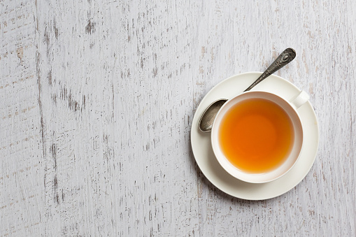 istock Cup of tea on white background, top view point 535278159