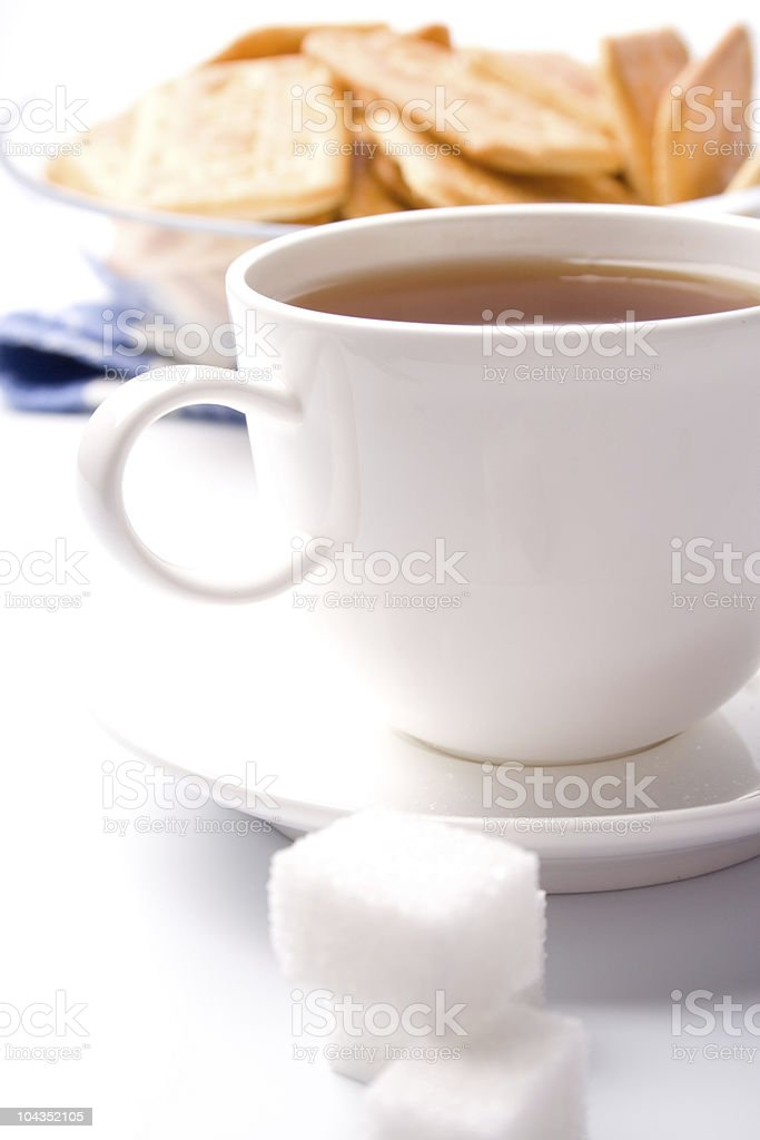 cup of tea, sugar and cookies royalty-free stock photo