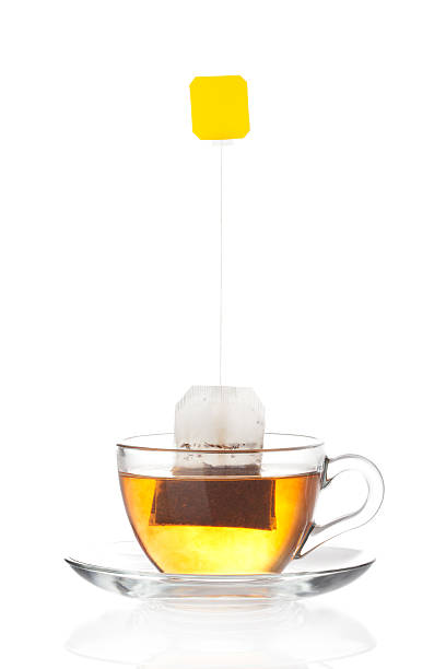 Cup of tea with bag (blank label) inside stock photo