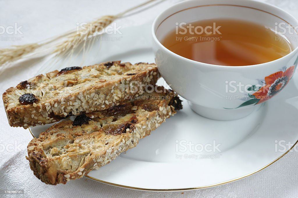 Cup of tea with biscotti cookies royalty-free stock photo
