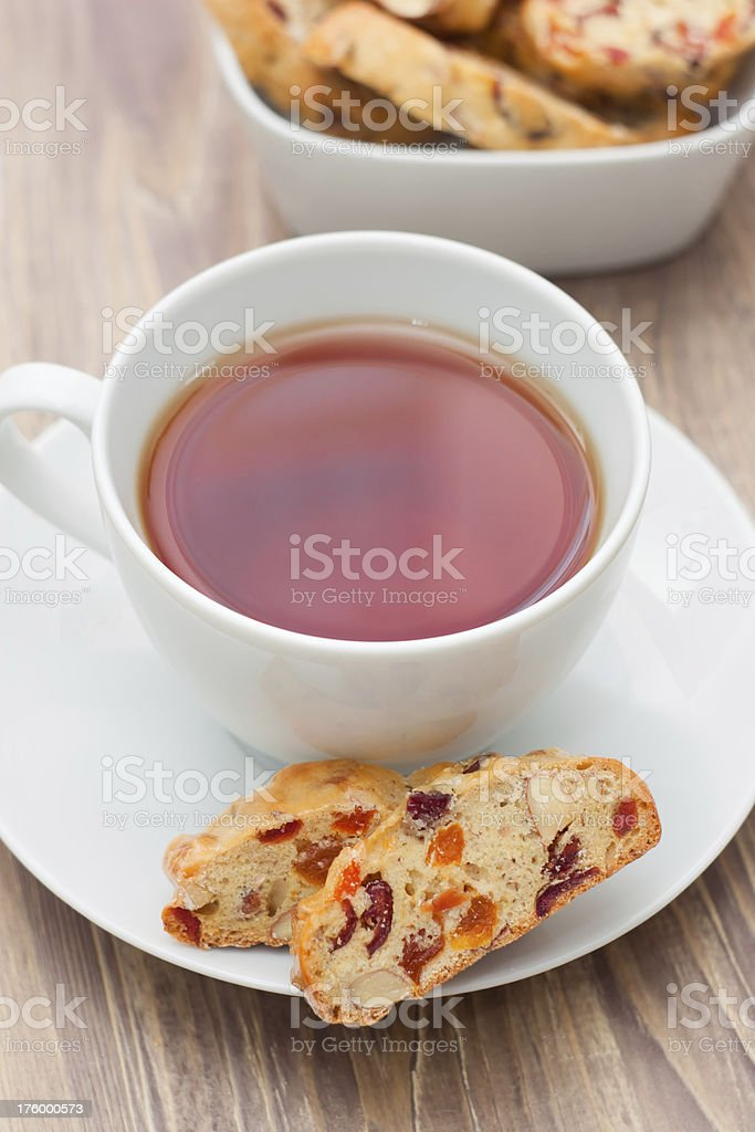 Cup of tea with biscotti royalty-free stock photo