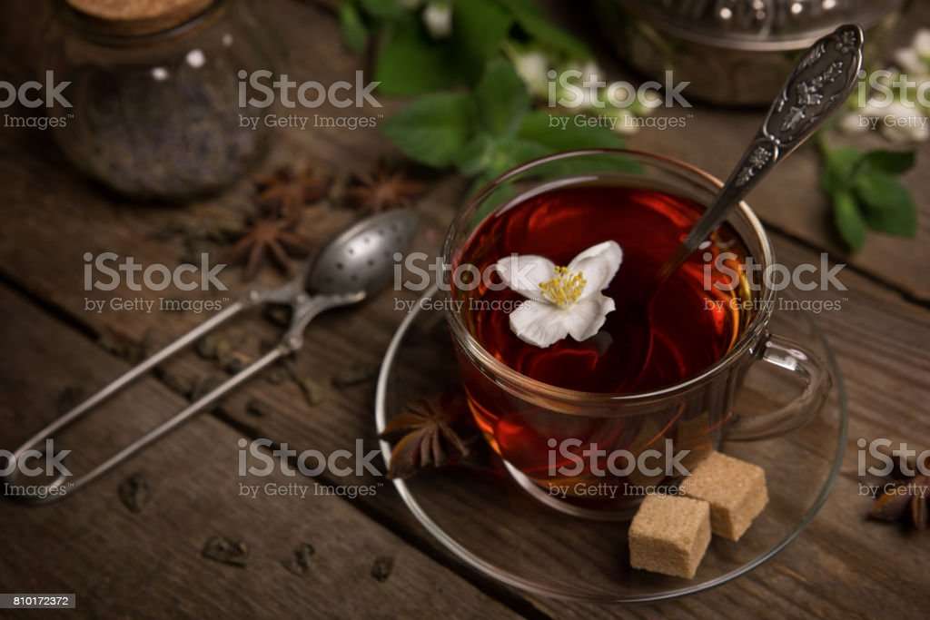 A cup of tea with jasmine and mint stock photo
