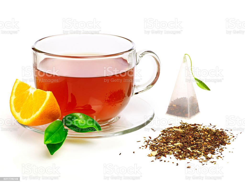 Cup of tea with lemon stock photo