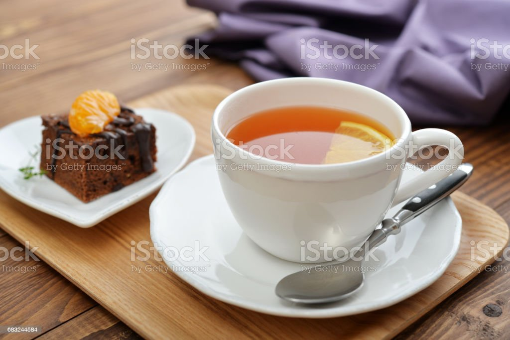 Cup of tea with lemon royalty-free 스톡 사진