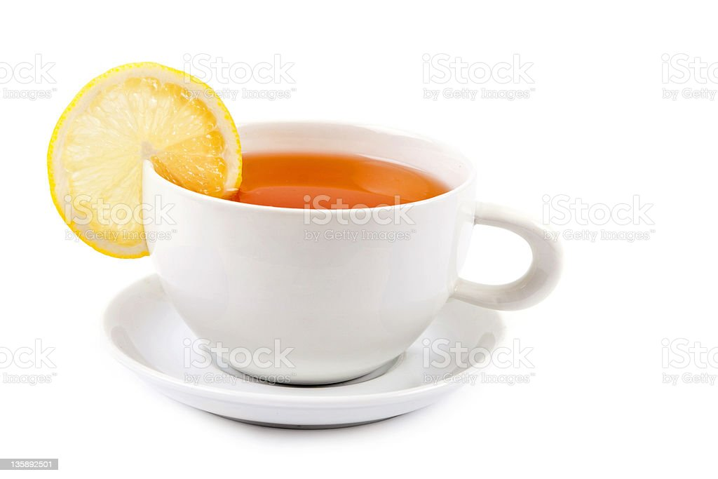 Cup of tea with lemon slice royalty-free stock photo