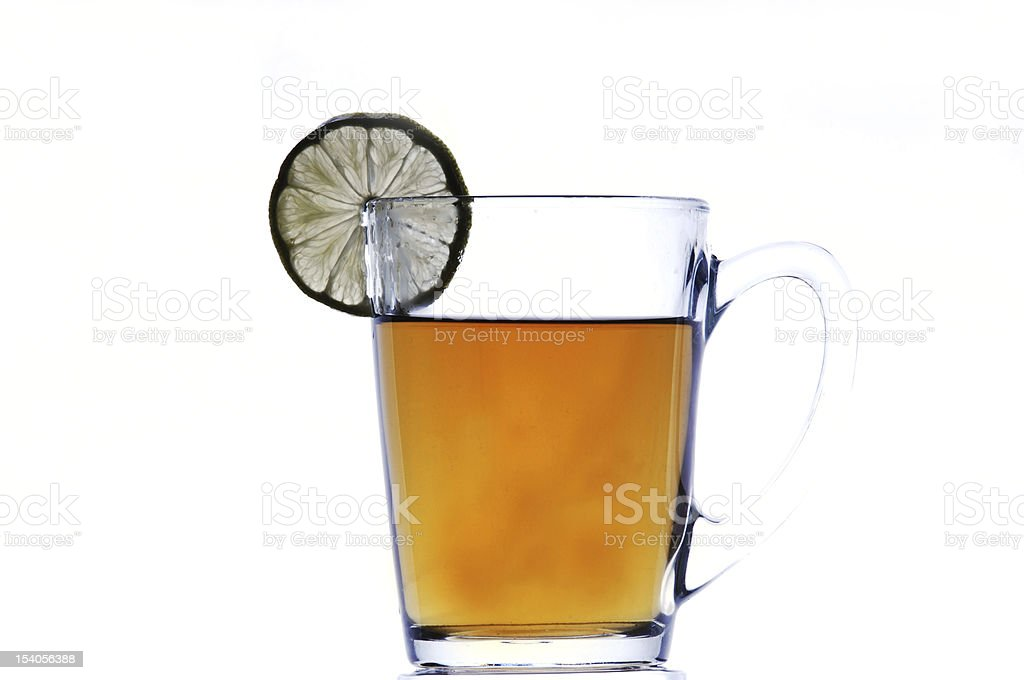 cup of tea with lemon, white background royalty-free stock photo