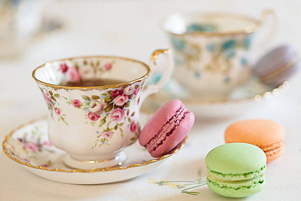 Cup of Tea with macaroons stock photo