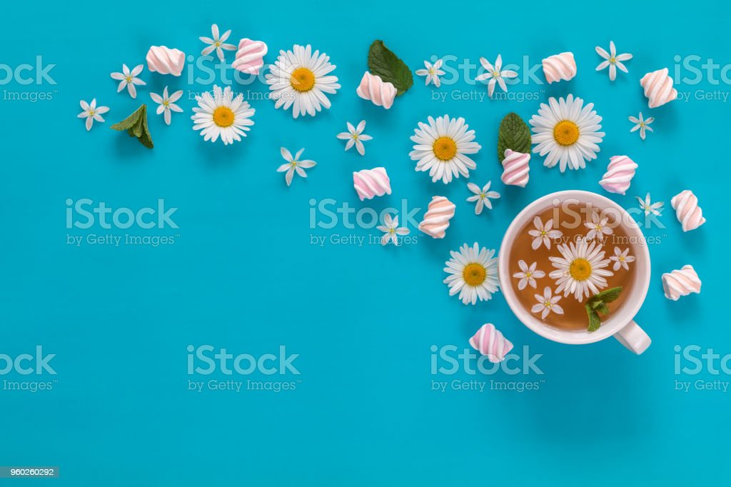 Cup of tea with marshmallows and flowers blossom  bouquets on blue surface royalty-free stock photo