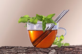 istock Cup of tea with peppermint and lemon balm 480093767