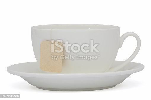 istock Cup of tea with tea bag (blank label) , isolated on white 507298580