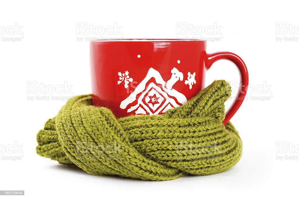 cup of tea with winter ornament stock photo