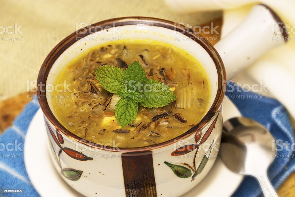 Cup of Wild Rice Soup stock photo