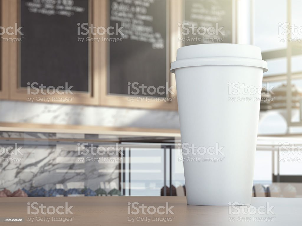 Cup on cafe table stock photo